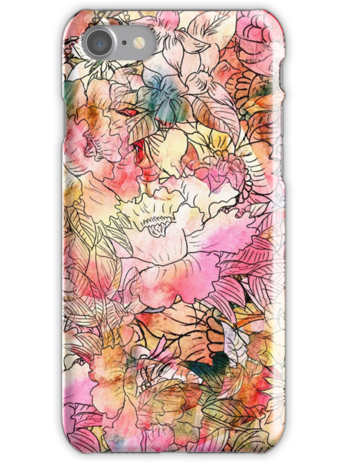 Colorful Watercolor Floral Pattern Abstract Sketch by GirlyTrend
