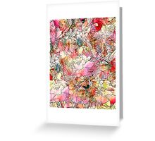 Colorful Watercolor Floral Pattern Abstract Sketch Greeting Card