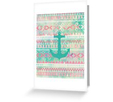 Emerald Nautical Anchor Pastel Watercolor Aztec Greeting Card