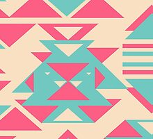 Modern Pink Turquoise Abstract Geometric Triangles by GirlyTrend