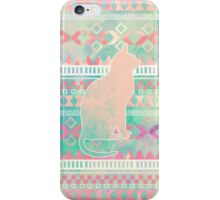 Whimsical Cat, Pink Turquoise Girly Aztec Pattern iPhone Case/Skin
