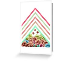 Modern Pink Teal Mint Green Chevron Floral Peonies Greeting Card