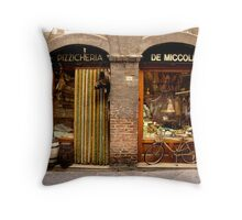 Bike at shopfront - Siena, Italy Throw Pillow