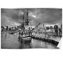Endeavour - HMB Endeavour (Monochrome)  - Australian National Maritime Museum - The HDR Experience Poster