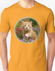Cute ginger kitten in a garden Unisex T-Shirt