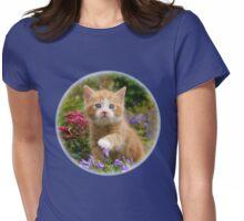 Cute ginger kitten in a garden Womens Fitted T-Shirt