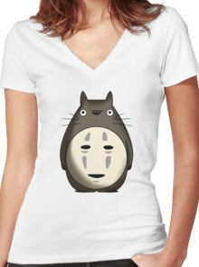 Totoro No Face Women's Fitted V-Neck T-Shirt