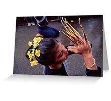 Fingernail dancer, Chiang Mai Greeting Card