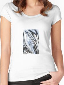 Grey and Black Metal Marbling Effect Abstract Women's Fitted Scoop T-Shirt