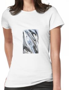 Grey and Black Metal Marbling Effect Abstract Womens Fitted T-Shirt