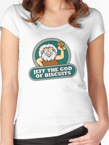 Jeff the God of Biscuits Women's Fitted Scoop T-Shirt