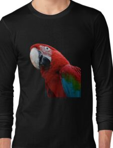 Close-Up Of A Green-Winged Macaw Background Removed Long Sleeve T-Shirt