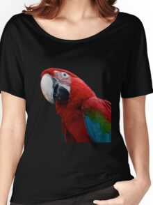 Close-Up Of A Green-Winged Macaw Background Removed Women's Relaxed Fit T-Shirt