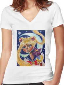 Pop Surrealism Sailor Moon and Luna Fan Art Women's Fitted V-Neck T-Shirt