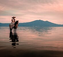Cowgirl on the Lake I by Dane Strom