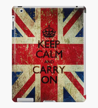 Grunge Keep Calm and Carry On Union Jack iPad Case/Skin