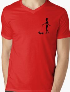 Flaunting The Pooch (teal) Mens V-Neck T-Shirt