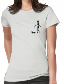 Flaunting The Pooch (violet) - Dachshund Sausage Dog Womens Fitted T-Shirt
