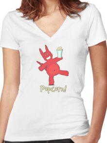 Popcorn! Women's Fitted V-Neck T-Shirt