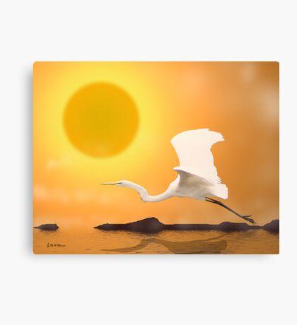 Egret Flying Into Sun Canvas Print