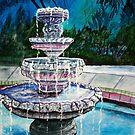 water fountain acrylic painting modern art print by derekmccrea