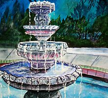 water fountain acrylic painting modern art print by derekmccrea