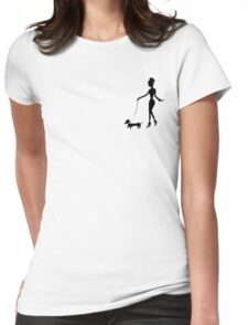 Flaunting The Pooch (peach) - Dachshund Sausage Dog Womens Fitted T-Shirt