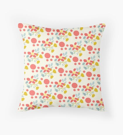 Happy Flowers Fun Pattern Throw Pillow