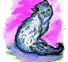 Persian Cat Watercolor by AnnArtshock