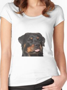 Cute Rottweiler With Tongue Out Women's Fitted Scoop T-Shirt