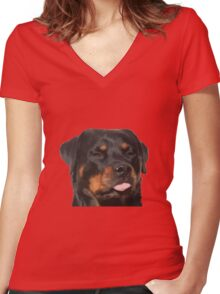Cute Rottweiler With Tongue Out Women's Fitted V-Neck T-Shirt