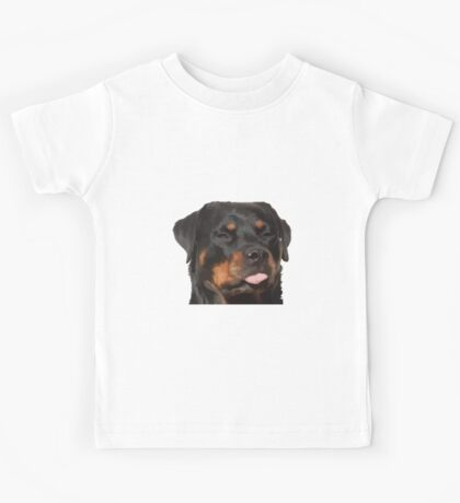 Cute Rottweiler With Tongue Out Kids Tee