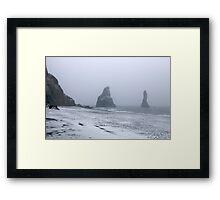 Beach in a Snowstorm Framed Print
