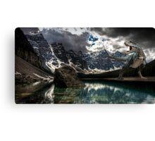 Dinosaur on a lake Canvas Print