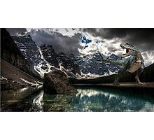Dinosaur on a lake Photographic Print