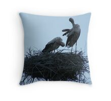 Silhouetted Storks Throw Pillow