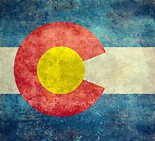 Colorado State Flag with vintage retro style treatment by Bruce Stanfield