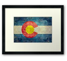 Colorado State Flag with vintage retro style treatment Framed Print