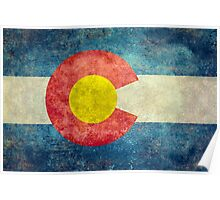 Colorado State Flag with vintage retro style treatment Poster