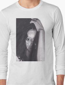 Realism Charcoal Drawing of Beautiful Woman from Honduras Long Sleeve T-Shirt