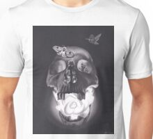 Surreal Charcoal Drawing of Glowing Skull with Rose and Moths Unisex T-Shirt