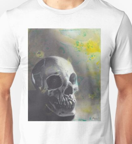 Realism Charcoal Drawing of Skull on Watercolor Stained Paper Unisex T-Shirt