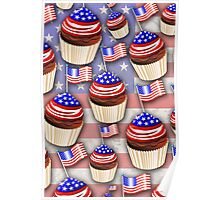 USA Flag Cupcakes Pattern Poster