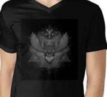 Sacred Geometry Owl B/W Mens V-Neck T-Shirt