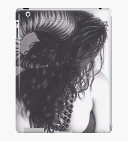 Realism Charcoal Drawing of Sexy Demon Woman iPad Case/Skin