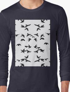 Birds White and Black Long Sleeve T-Shirt