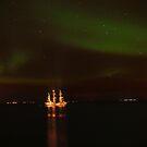 Ship and the Northern Lights by Árni  Tryggvason