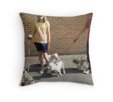 Crazy canine club Throw Pillow