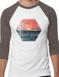 Nature and Geometry - Lovely Sunset at Sea Men's Baseball ¾ T-Shirt