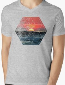 Nature and Geometry - Lovely Sunset at Sea Mens V-Neck T-Shirt